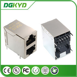 China 2x1 Stacked gigabit RJ45 Ethernet connector with magnetics 2 port Female Jack supplier