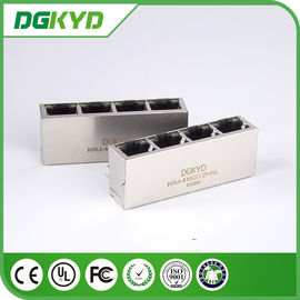 China Factory price KRJ-415GYZHNL metal shielded 1x4 cat5 quad port rj45 connector with LED supplier